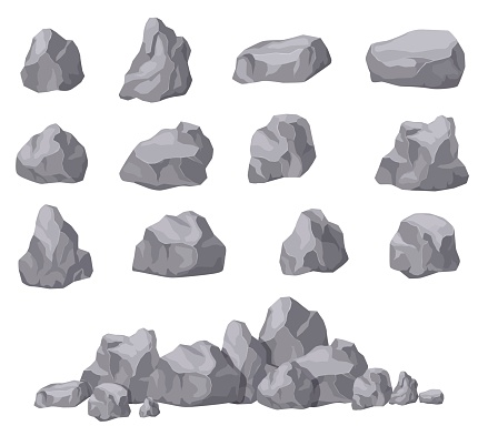 Cartoon stones. Rock stone isometric set. Granite boulders, natural building block shapes. 3d decoration isolated vector collection. Illustration of boulder geology, nature stone material