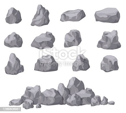 istock Cartoon stones. Rock stone isometric set. Granite boulders, natural building block shapes. 3d decoration isolated vector collection 1286808951