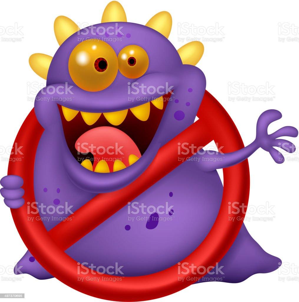 Cartoon Stop Virus Purple In Red Alert Sign Stock Vector Art