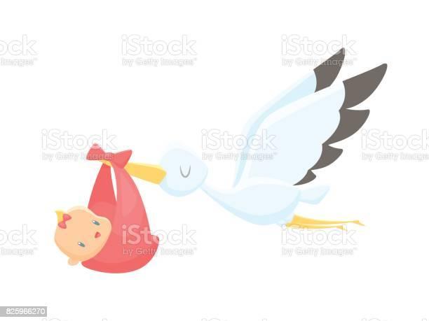 Cartoon stork carrying baby girl vector illustration vector id825966270?b=1&k=6&m=825966270&s=612x612&h=yv0 owwlwgx69xxav5zcbzbmv yxjlsm f mbhs599s=
