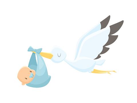 Cartoon stork carrying baby vector illustration