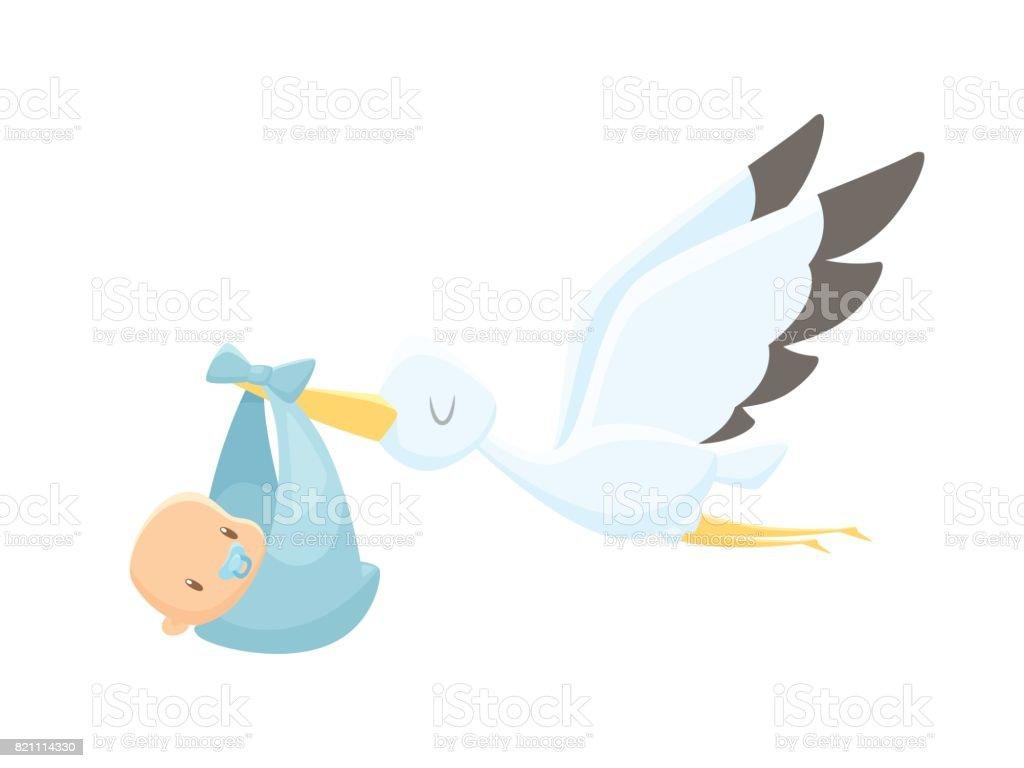 Cartoon stork carrying baby vector illustration vector art illustration