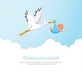 Cartoon stork in sky with baby.
