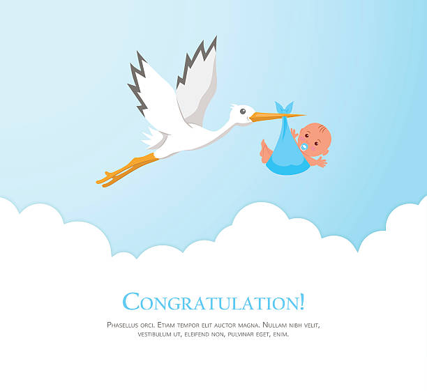 Cartoon stork in sky with baby. - ilustración de arte vectorial