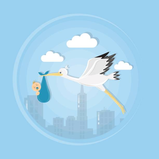 漫画コウノトリの赤ちゃんと一緒に空に。 - 出産点のイラスト素材/クリップアート素材/マンガ素材/アイコン素材
