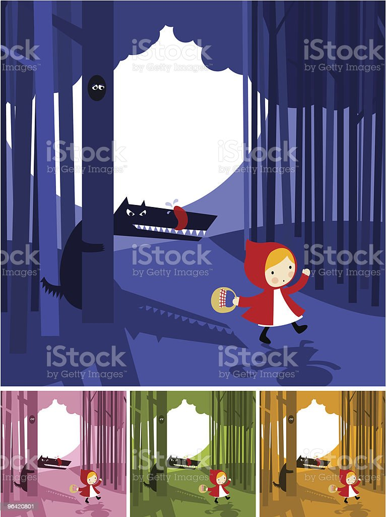 Cartoon storyboard of little red riding hood story royalty-free stock vector art