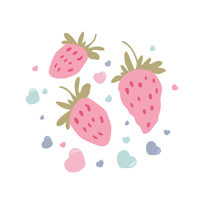 Cartoon strawberries with hearts vector illustration.