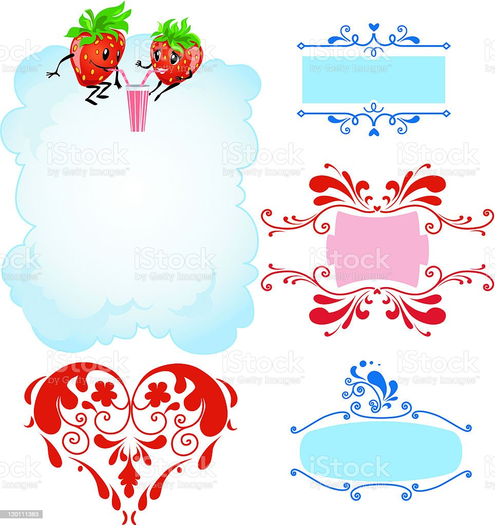 Cartoon strawberry and frames royalty-free cartoon strawberry and frames stock vector art & more images of art