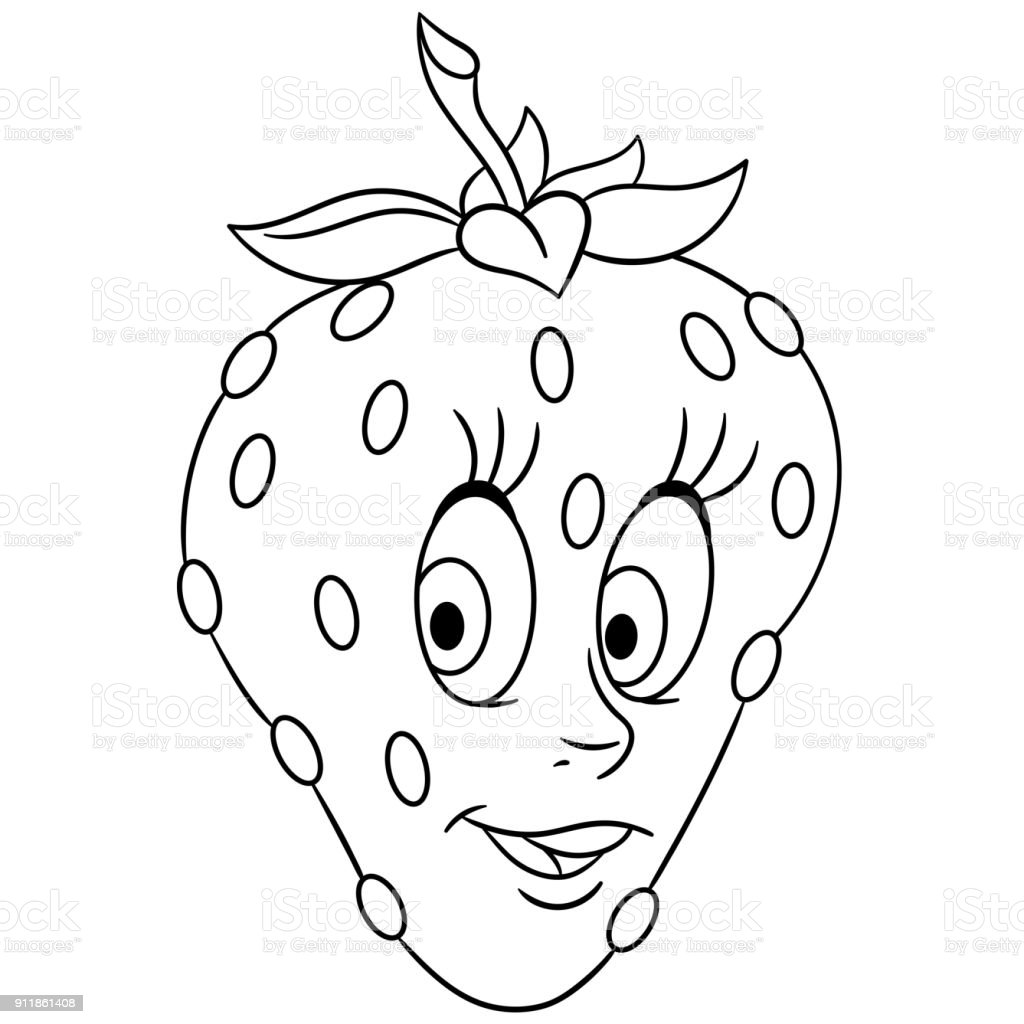 - Cartoon Strawberry Happy Fruit Emoticon Coloring Book Page Design For Kids  And Children Stock Illustration - Download Image Now - IStock