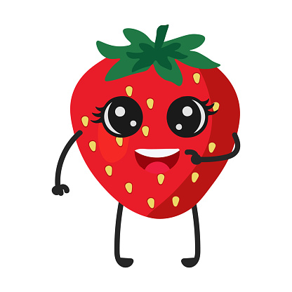 Cartoon Strawberry with cute face. Illustration with funny and healthy food. Isolated on white background. Vegan concept