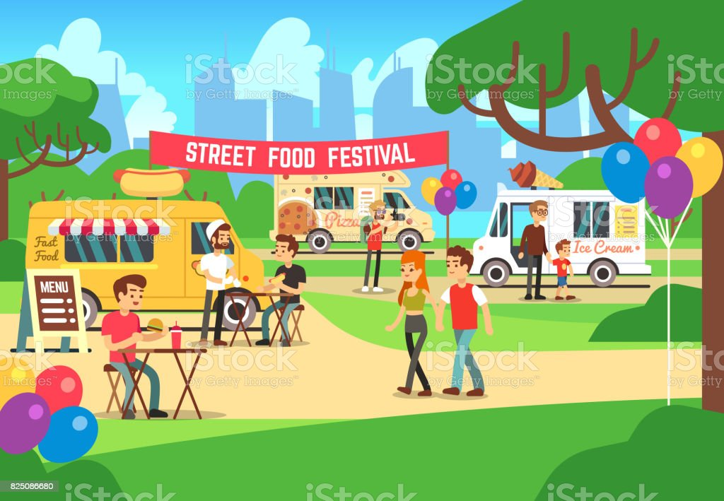 Cartoon street food festival with people and trucks vector background vector art illustration