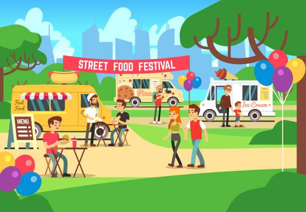 cartoon-suppen-festival mit menschen und lkw-vektor-hintergrund - imbisswagen stock-grafiken, -clipart, -cartoons und -symbole