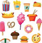 Cartoon street food icon illustration set with cute elements