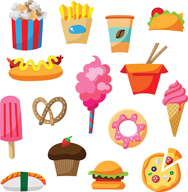 cartoon street food icon illustration set with cute elements - junk food stock illustrations, clip art, cartoons, & icons