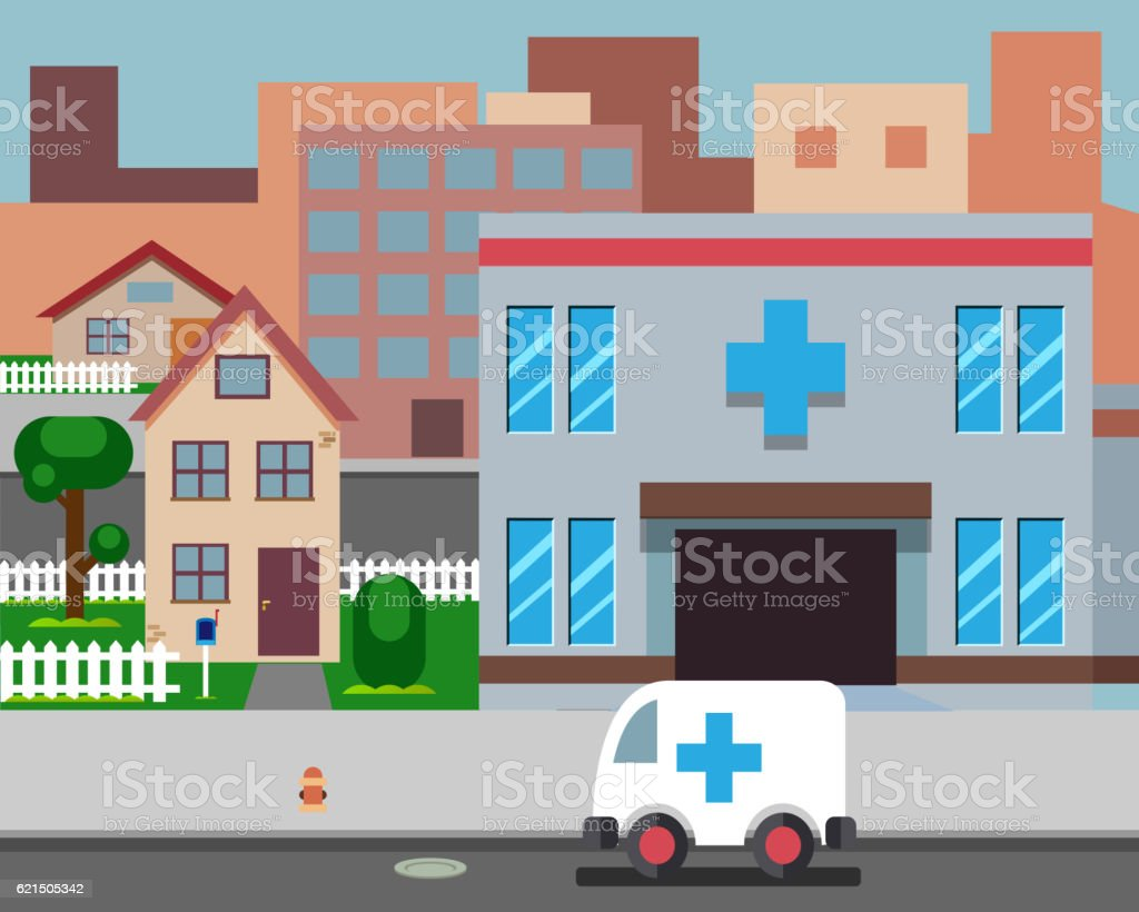 Cartoon Street Hospital Stylish Background Retro Design Vector Illustration cartoon street hospital stylish background retro design vector illustration – cliparts vectoriels et plus d'images de ambulance libre de droits
