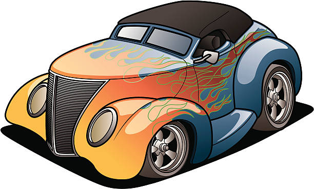 Cartoon Street Rod vector art illustration