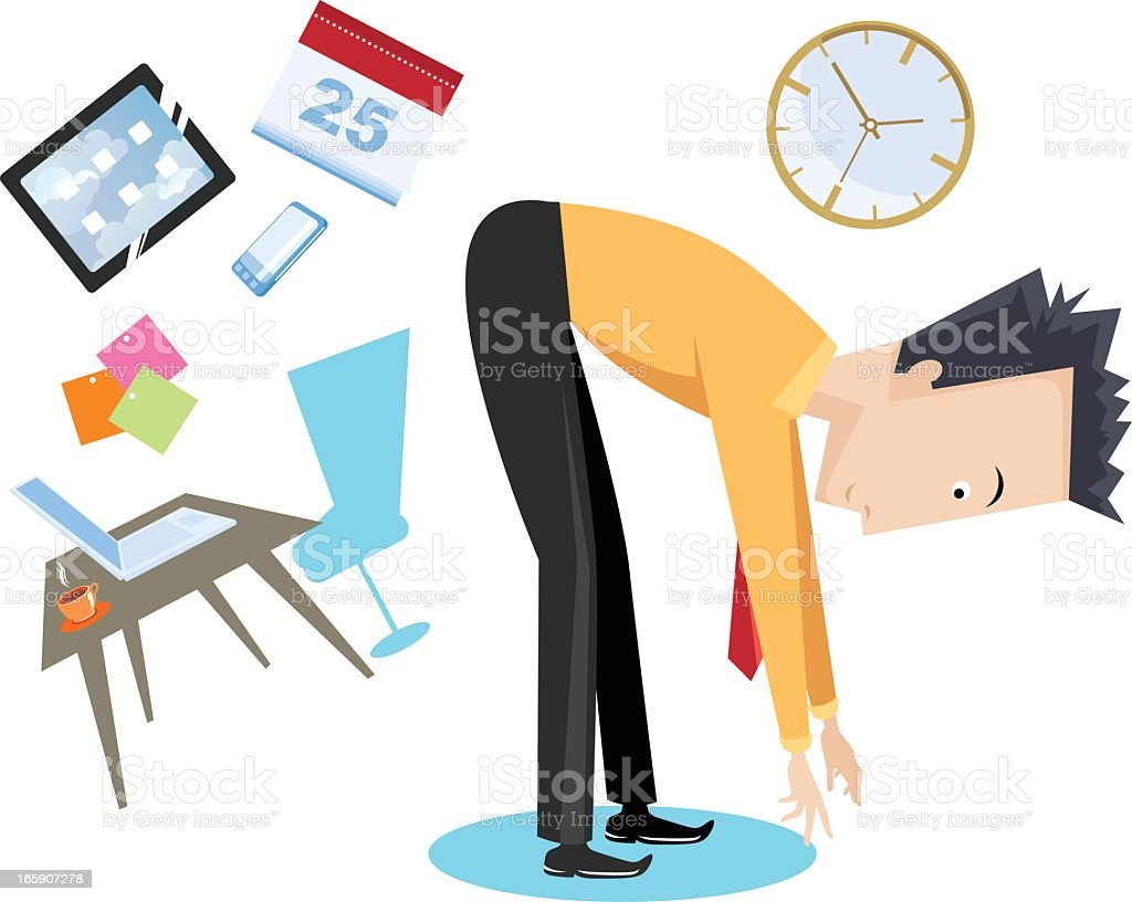 Cartoon stretch break with office symbols in the background vector art illustration