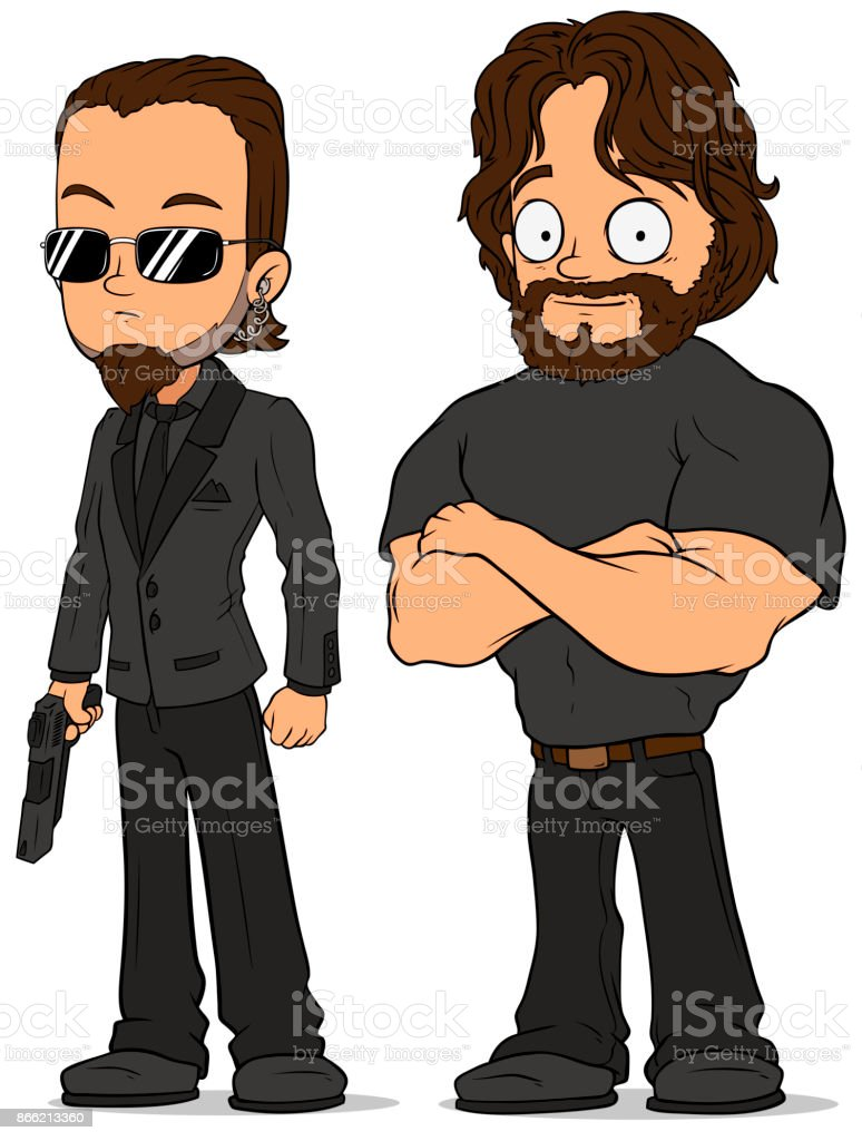 Cartoon strong secret agent characters set vector art illustration