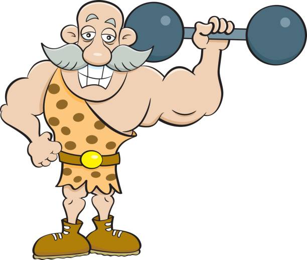 cartoon strongman holding a barbell. - old man clipart stock illustrations, clip art, cartoons, & icons