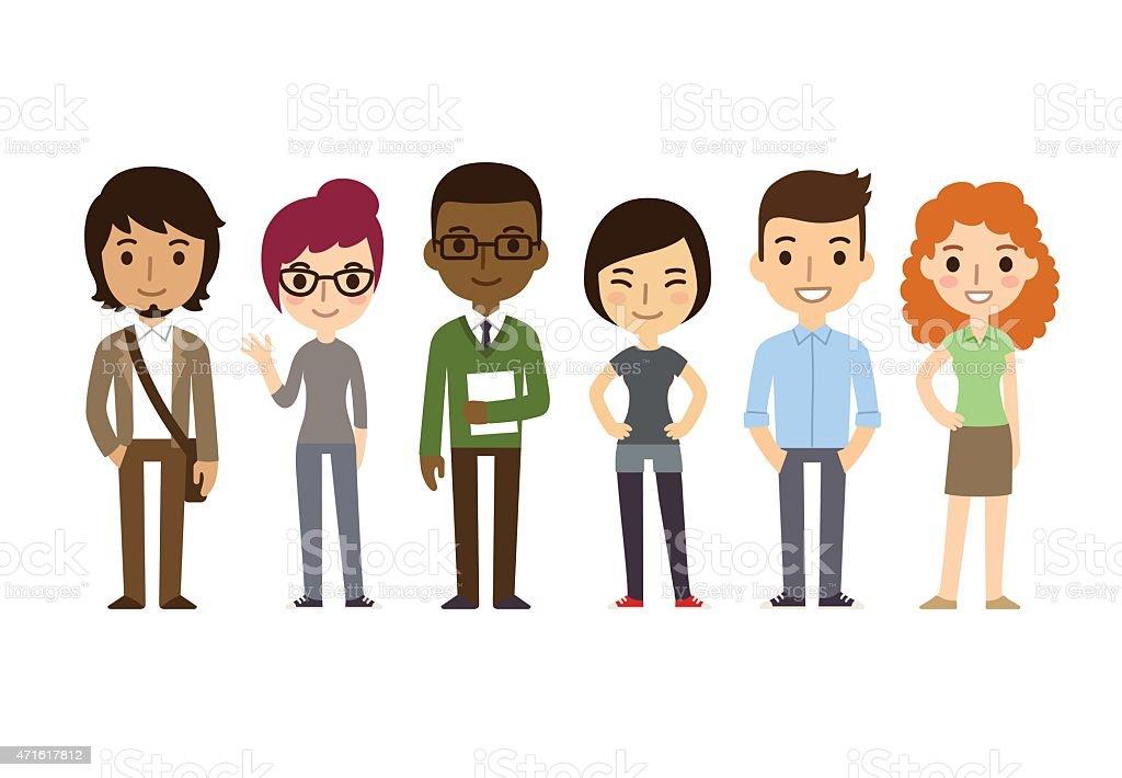 Cartoon Students vector art illustration