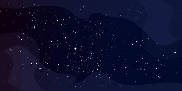 cartoon-stil astrologie horizontalen hintergrund, stern universum hintergrund, milchstraße galaxie, vektor-illustration - milky way stock-grafiken, -clipart, -cartoons und -symbole