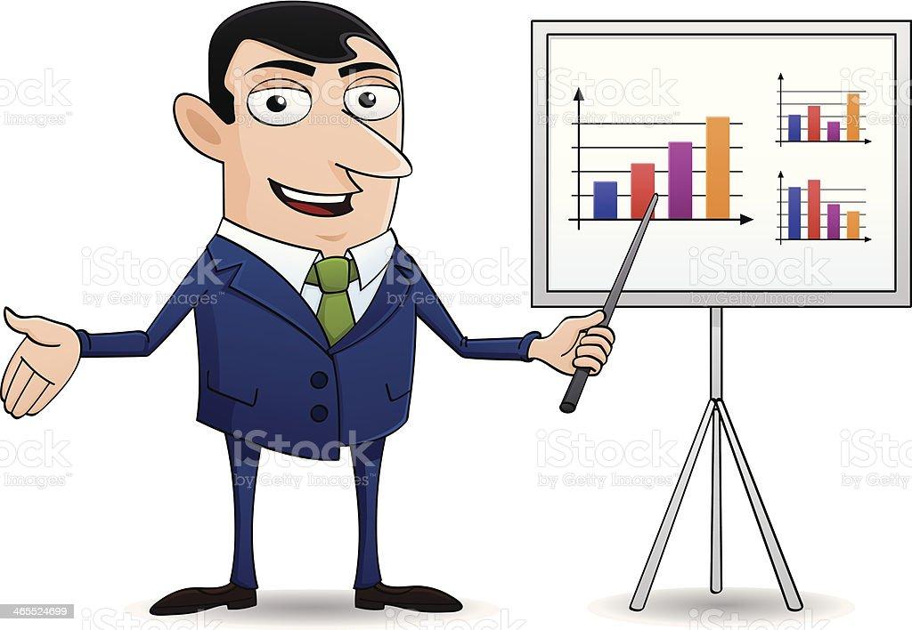 cartoon style business man with flipchart royalty-free stock vector art