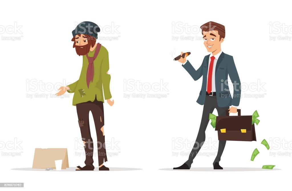 cartoon style characters. Poor and rich man. vector art illustration