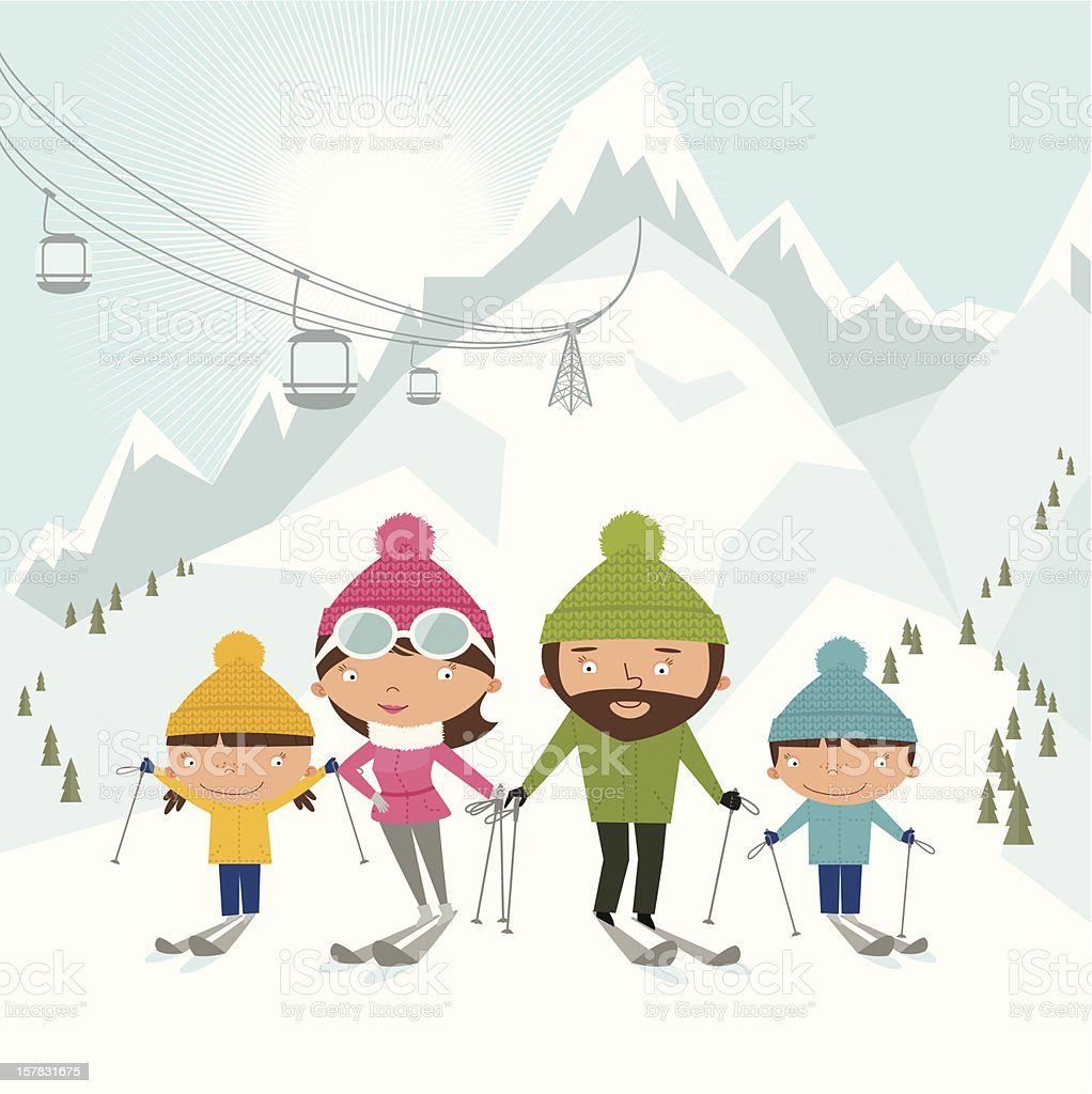 Cartoon style depiction of skiing family royalty-free stock vector art