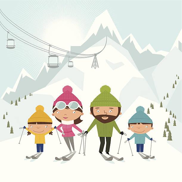 skifahren für familien - skifahren stock-grafiken, -clipart, -cartoons und -symbole
