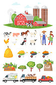 Vector cartoon style farmers set: farm, people, animals, fruit trees, cars. Isolated on white background.