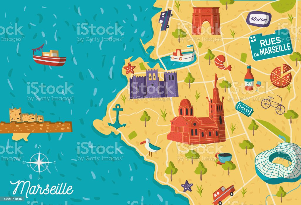 Marseille Map Of France.Cartoon Style France Marseille Sightseeing Vector Map Summer