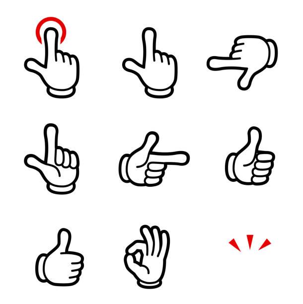 stockillustraties, clipart, cartoons en iconen met cartoon hand stijlicoon - menselijke vinger
