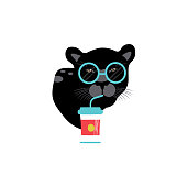 istock Cartoon style icon of cute panther with glasses and drink of coffee. Funny portrait of the character for a different design. 1139339117