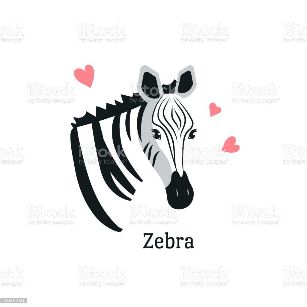 Cartoon style icon of zebra with hearts around. Сute portrait of the character with text.