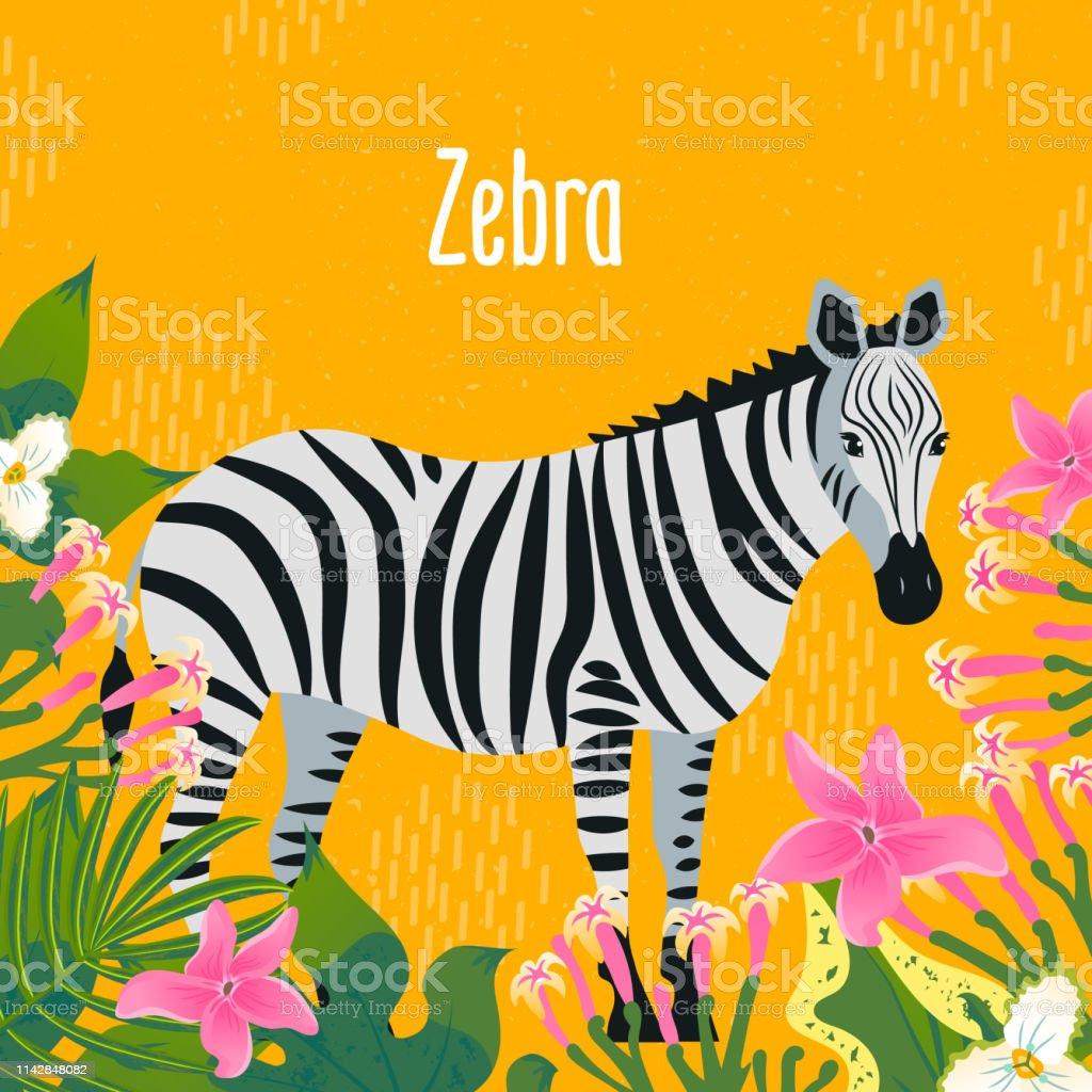 熱帯の葉や花とゼブラの漫画のスタイルのアイコン。●デザインの異なる文字を使用したキュートなキャラクター。 ベクターアートイラスト