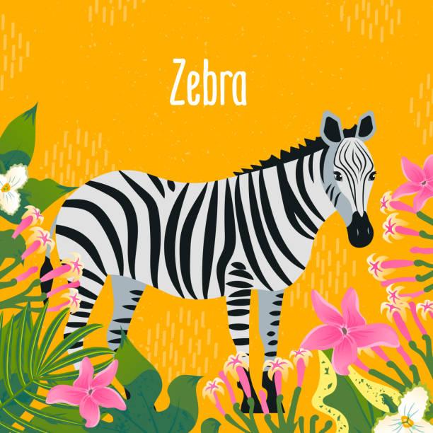 熱帯の葉や花とゼブラの漫画のスタイルのアイコン。●デザインの異なる文字を使用したキュートなキャラクター。 - 花のボーダー点のイラスト素材/クリップアート素材/マンガ素材/アイコン素材