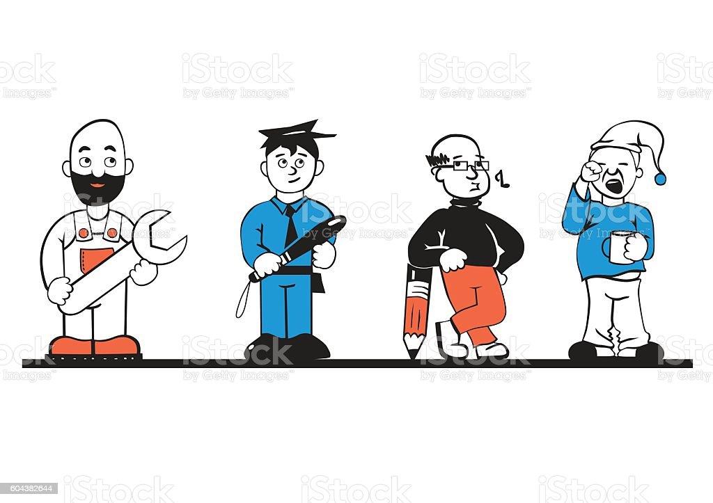 Cartoon style occupations - Illustration vectorielle
