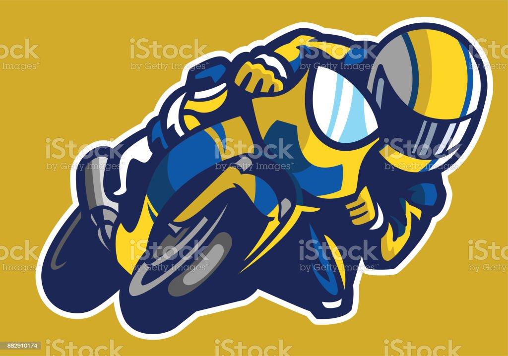 Ilustración De Estilo De Dibujos Animados De Carrera De Moto Deporte