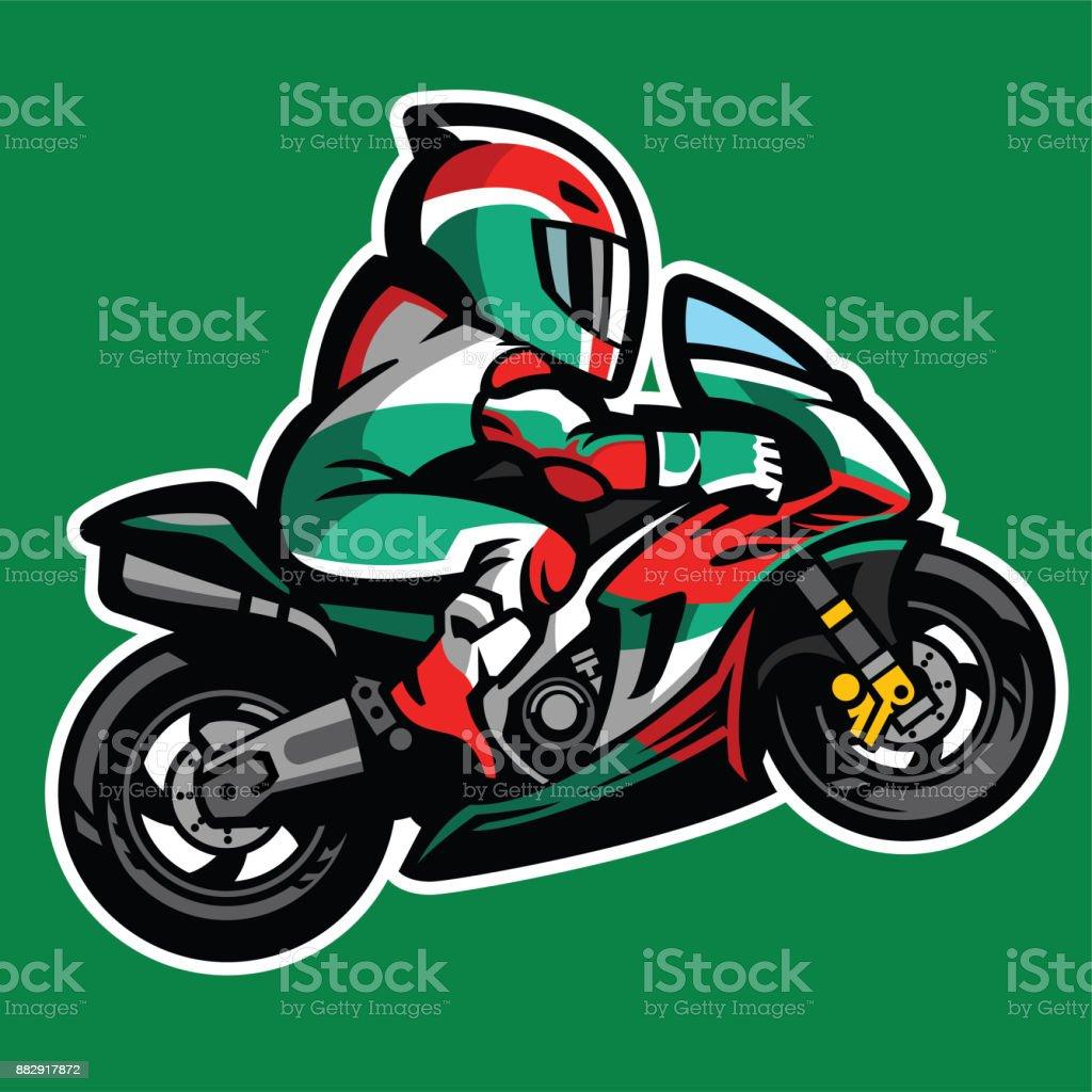 ilustração de desenho animado estilo de moto esporte wheelie e mais