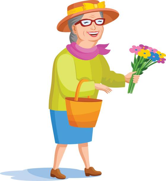 cartoon style old woman - old man hats pictures stock illustrations, clip art, cartoons, & icons