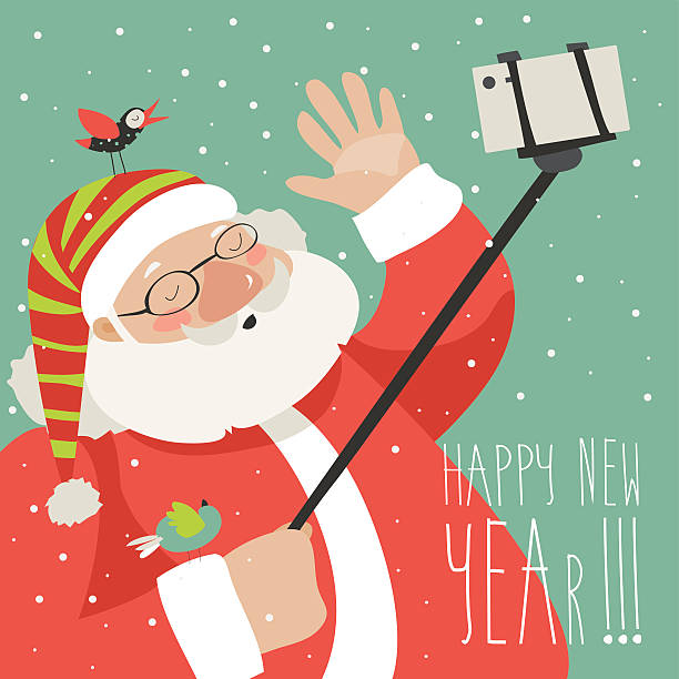 cartoon style santa claus making selfie - old man pic cartoons stock illustrations, clip art, cartoons, & icons