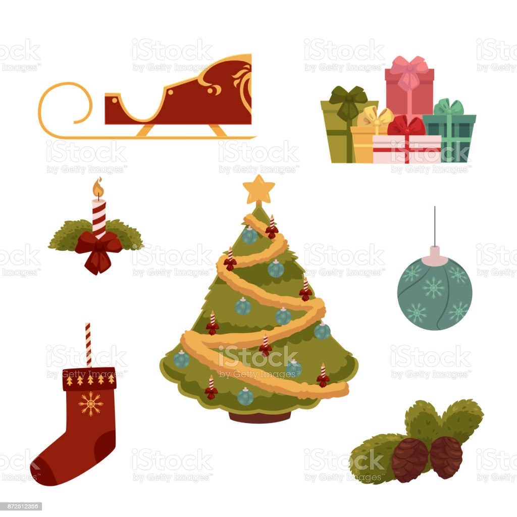 Cartoon Style Set Of Christmas Decorations Stock Illustration Download Image Now Istock