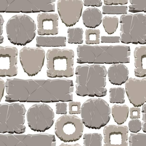 cartoon-stil steinen nahtlose muster - steinpfade stock-grafiken, -clipart, -cartoons und -symbole