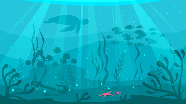 cartoon style underwater background - animals background stock illustrations