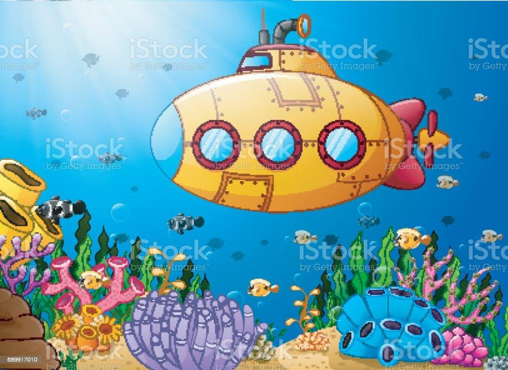 Cartoon submarine underwater vector art illustration