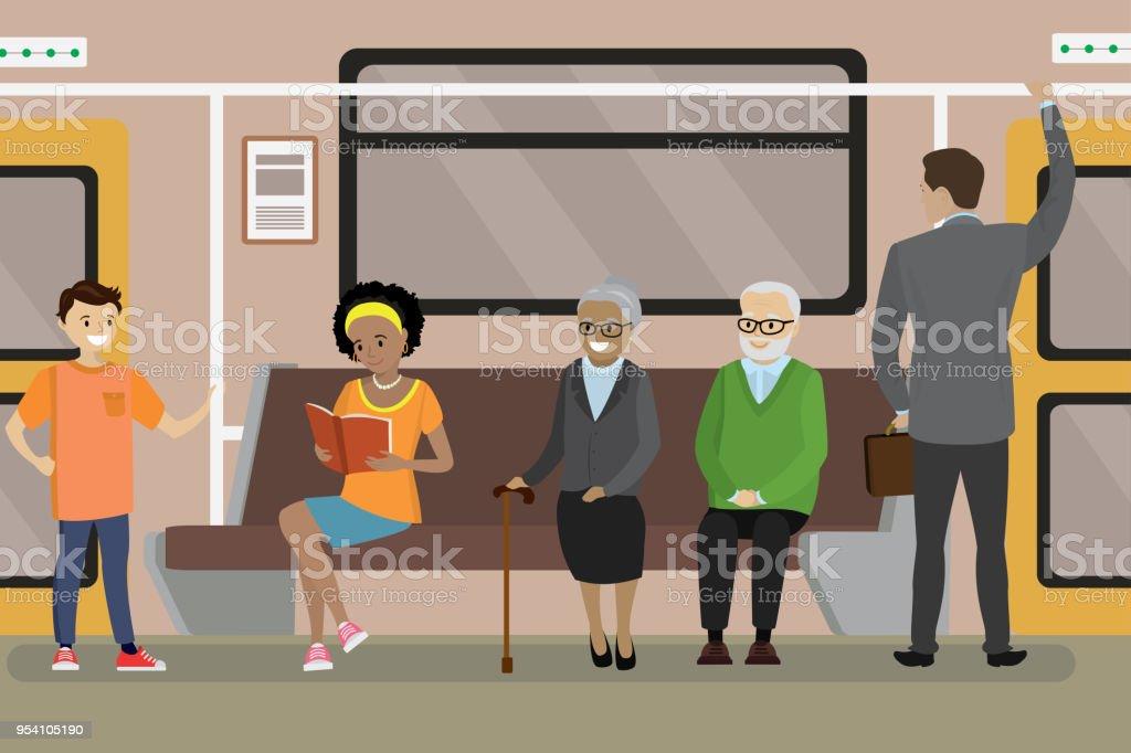 Lovely Cartoon U Bahn U Bahn Innenraum Lizenzfreies Cartoon Ubahn Ubahninnenraum  Stock Vektor Art