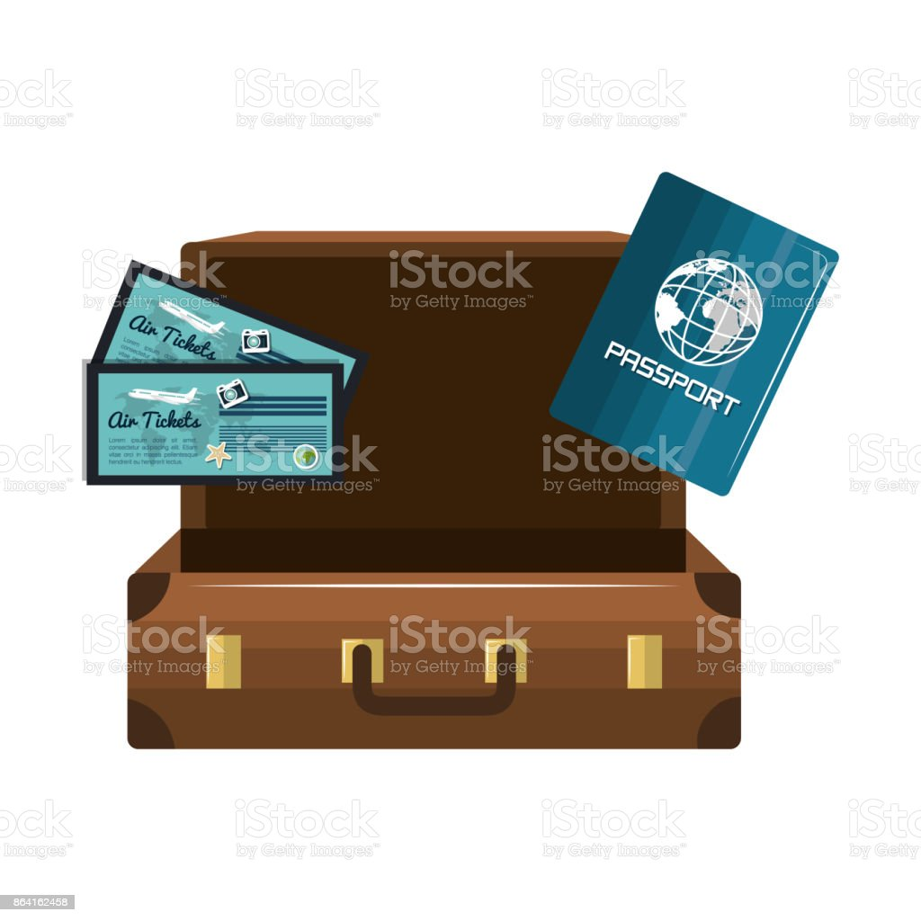cartoon suitcase passport tickets design isolated royalty-free cartoon suitcase passport tickets design isolated stock vector art & more images of adult