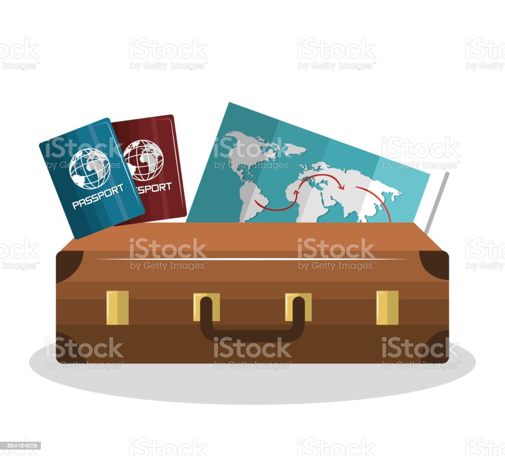 cartoon suitcase with passport and map isolated royalty-free cartoon suitcase with passport and map isolated stock vector art & more images of airplane