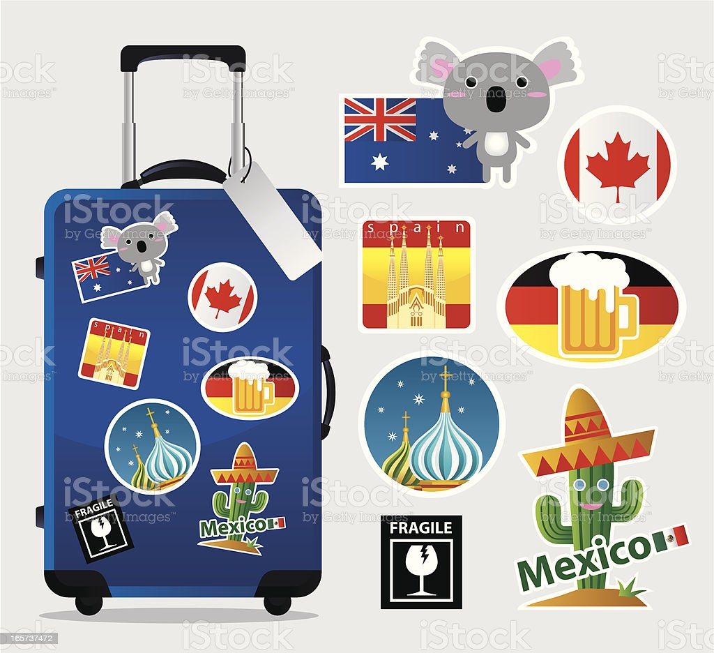 Cartoon suitcase with travel stickers and icons