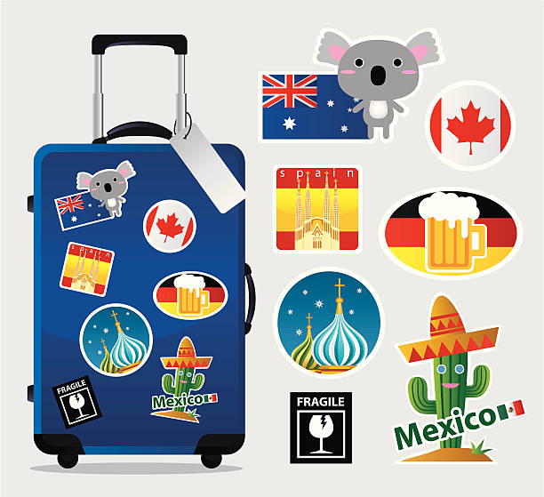 Cartoon suitcase with travel stickers and icons vector art illustration